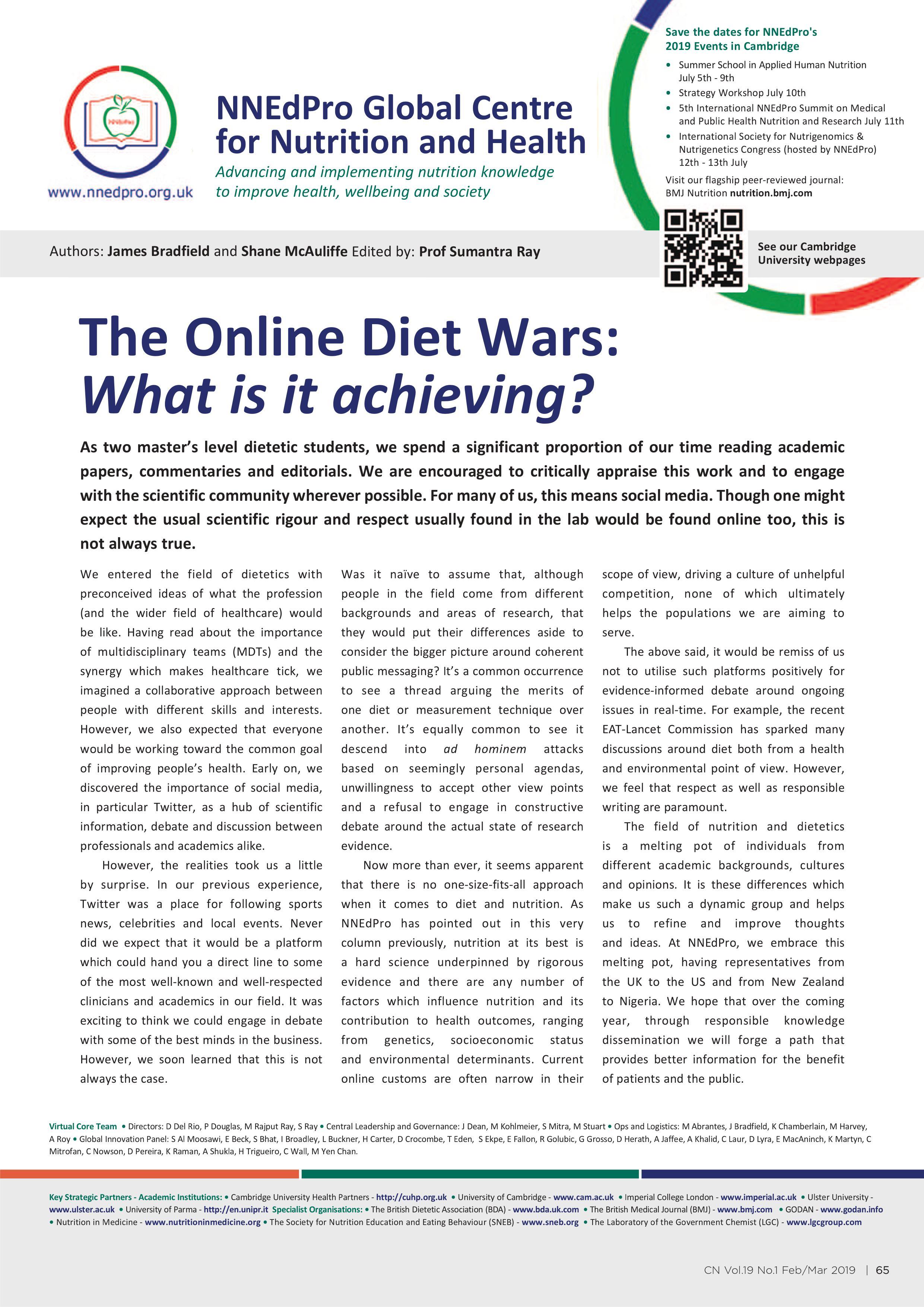 Online Diet Wars - NNEdPro article in CN